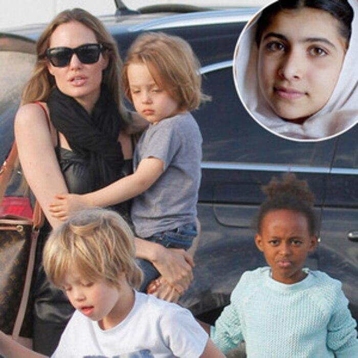 Angelina Jolie, Knox, Shiloh, Zahara; Malala Yousafzai