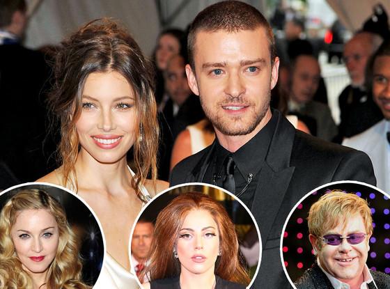 Justin Timberlake, Jessica Biel, Elton John, Madonna, Lady Gaga
