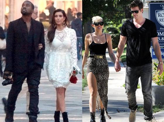 Kanye West, Kim Kardashian, Miley Cyrus, Liam Hemsworth