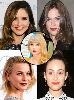 Red Lips Trend, Julianne Hough, Emmy Rossum, Sophia Bush, Taylor Swift, Mandy Moore