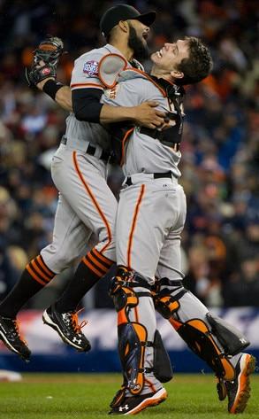 Sergio Romo, Buster Posey, San Francisco Giants, World Series Win