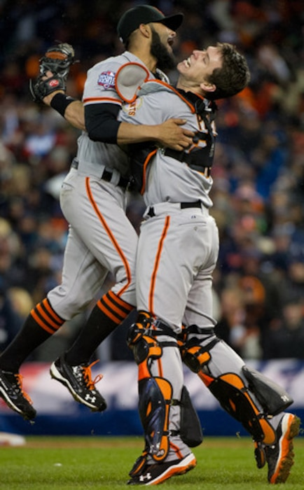 Sergio Romo, Buster Posey, San Francisco Giants, World Series Win