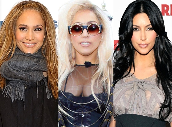Jennifer Lopez, Lady Gaga, Kim Kardashian