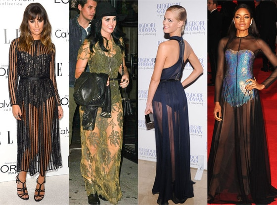 Bodysuits & Sheer Dresses: Lea Michele, Katy Perry, Erin Heatherton, Naomie Harris