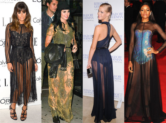 Bodysuits & Sheer Dresses: Lea Michele, Katy Perry, Erin Heatherton, Naomie Harris