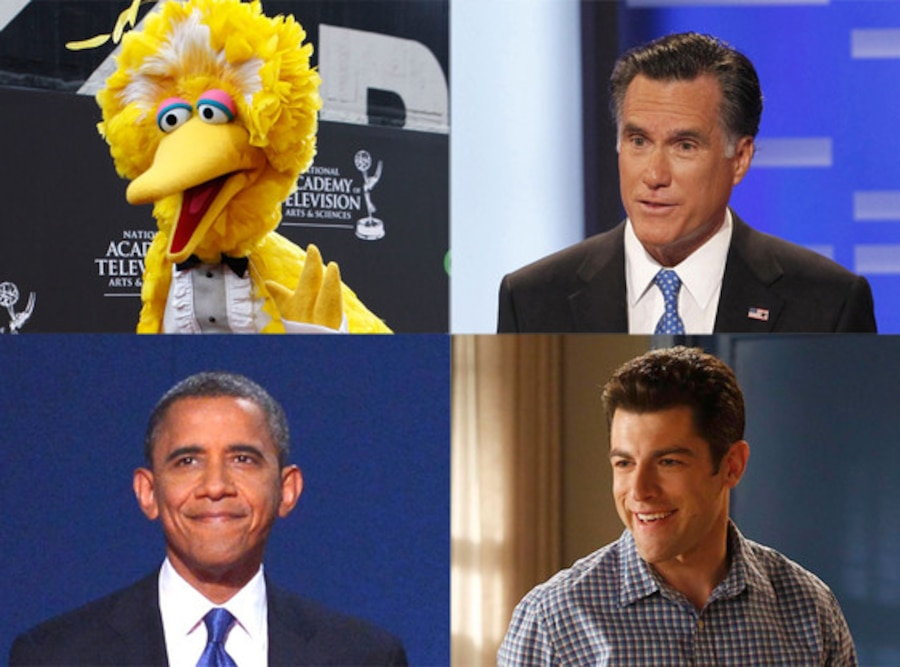 Mitt Romney, Barack Obama, Big Bird, Max Greenfield, New Girl