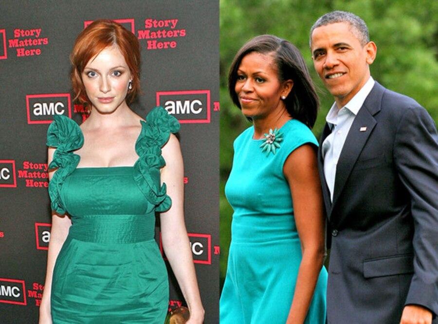 Michelle Obama, Barack Obama, Christina Hendricks