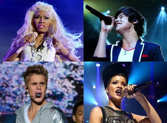 AMA Nominees, Nicki Minaj, Rihanna, Justin Bieber, One Direction