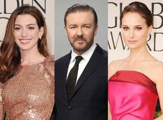 Ricky Gervais, Anne Hathaway, Natalie Portman