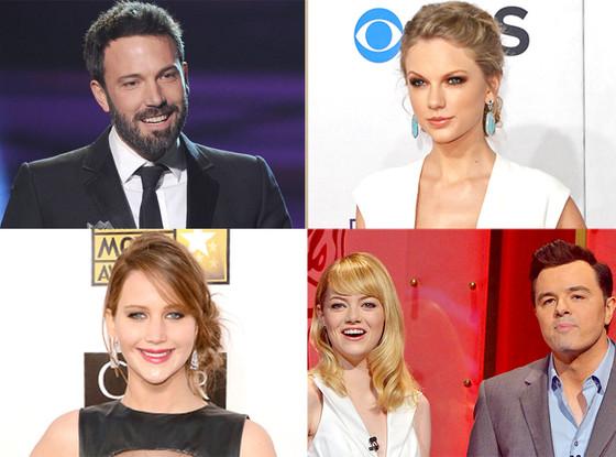 Taylor Swift, Jennifer Lawrence, Ben Affleck, Emma Stone, Seth MacFarlane