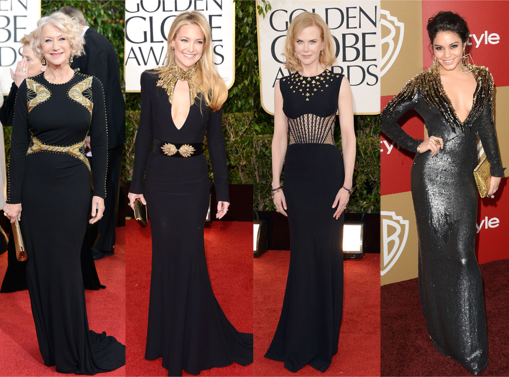 Helen Mirren, Kate Hudson, Nicole Kidman, Vanessa Hudgens, Black and Gold Dress Trend