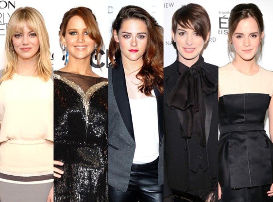 Emma Stone, Jennifer Lawrence, Kristen Stewart, Anne Hathaway, Emma Watson