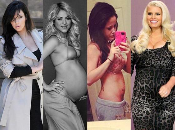 Kim Kardashian, Shakira, Jenelle Evans, Jessica Simpson