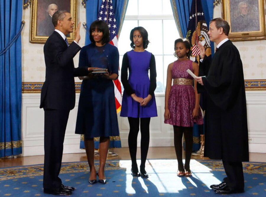 President Barack Obama, Michlle Obama, Malia Obama, Sasha Obama, U.S. Supreme Court Chief John Roberts