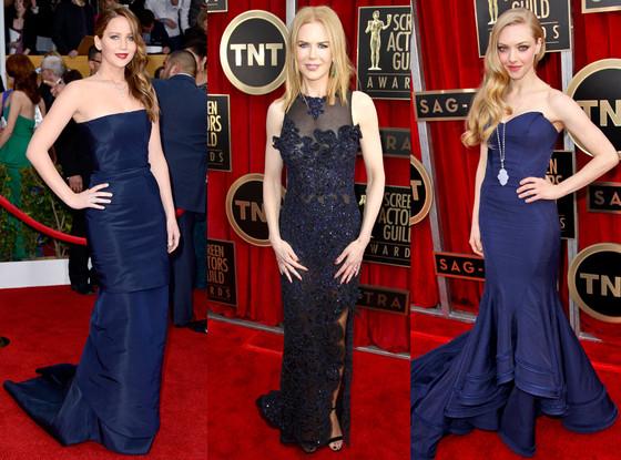 SAG Blue Dress Trend, Jennifer Lawrence, Amanda Seyfried, Nicole Kidman