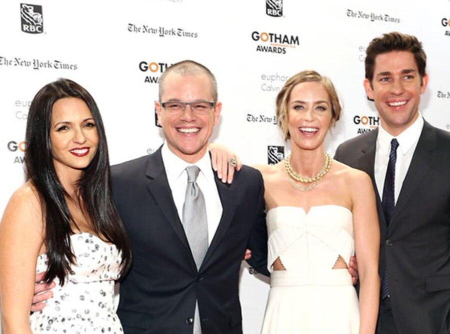 Luciana Damon, Matt Damon, Emily Blunt and John Krasinski