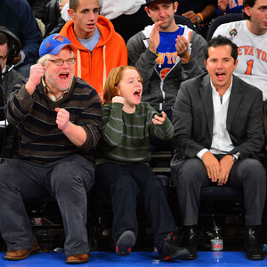 Philip Seymour Hoffman and Son Sport Adorable Matching Cheers at Knicks Game