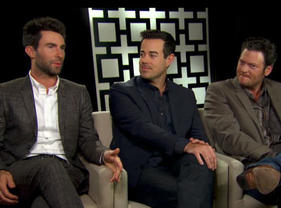 Adam Levine, Blake Shelton and Carson Daly