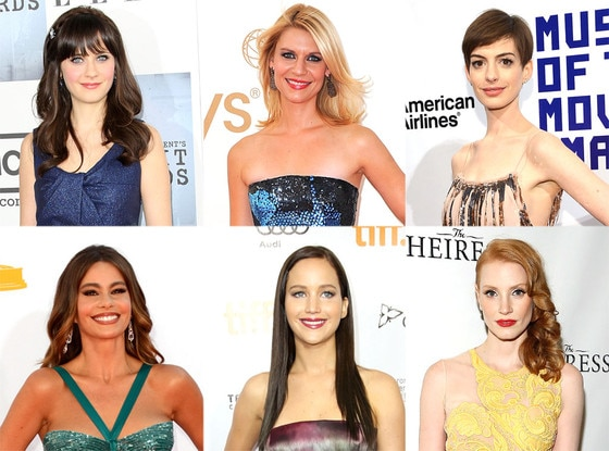 Jessica Chastain, Jennifer Lawrence, Claire Danes, Zooey Deschanel, Sofia Vergara, Anne Hathaway, Golden Globe Poll
