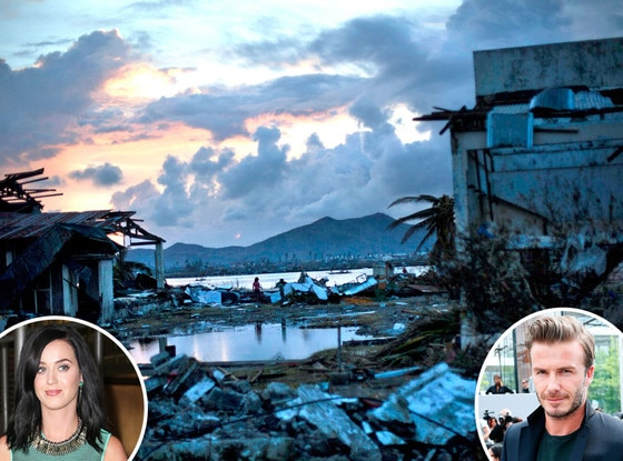 Phillippines, Typhoon Haiyan, Katy Perry, David Beckham