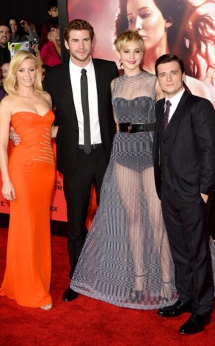 Elizabeth Banks, Liam Hemsworth, Jennifer Lawrence, Josh Hutcherson, The Hunger Games: Catching Fire