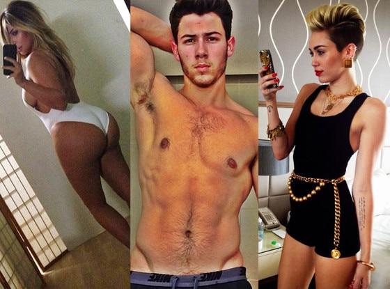 Celeb Selfies, Kim Kardashian, Nick Jonas, Miley Cyrus