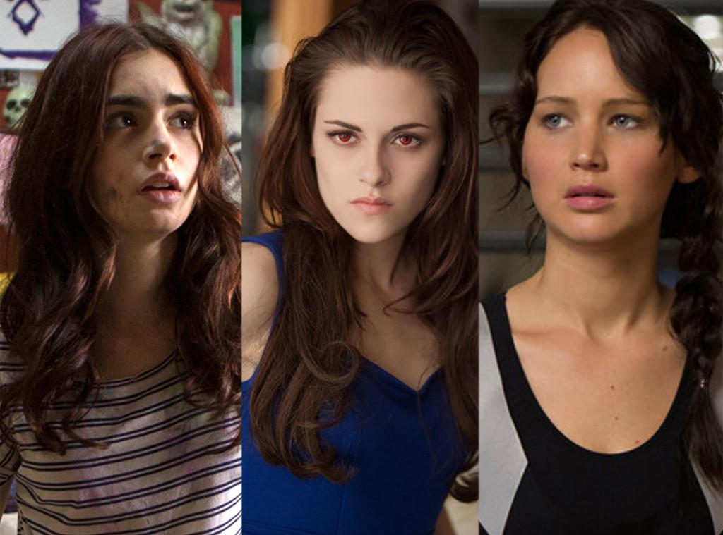 Lily Collins, Kristen Stewart, Jennifer Lawrence, Mortal Instruments: City of Bones, Twilight Saga, Hunger Games: Catching Fire