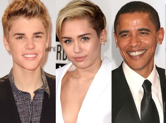 Justin Bieber, Miley Cyrus, Barack Obama