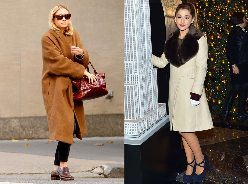 Ashley Olsen, Ariana Grande, Coat, Winter, Split