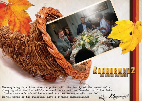Anchorman 2, Ron Burgundy, Thanksgiving Card