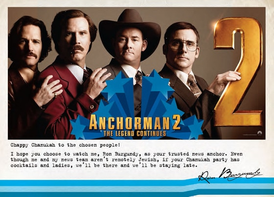 Anchorman 2, Ron Burgundy, Hanukkah Card
