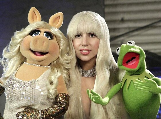 Lady Gaga, Kermit, Miss Piggy, Muppets