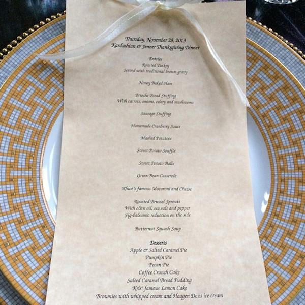 Kardashian, Jenner Family Thanksgiving Day Menu