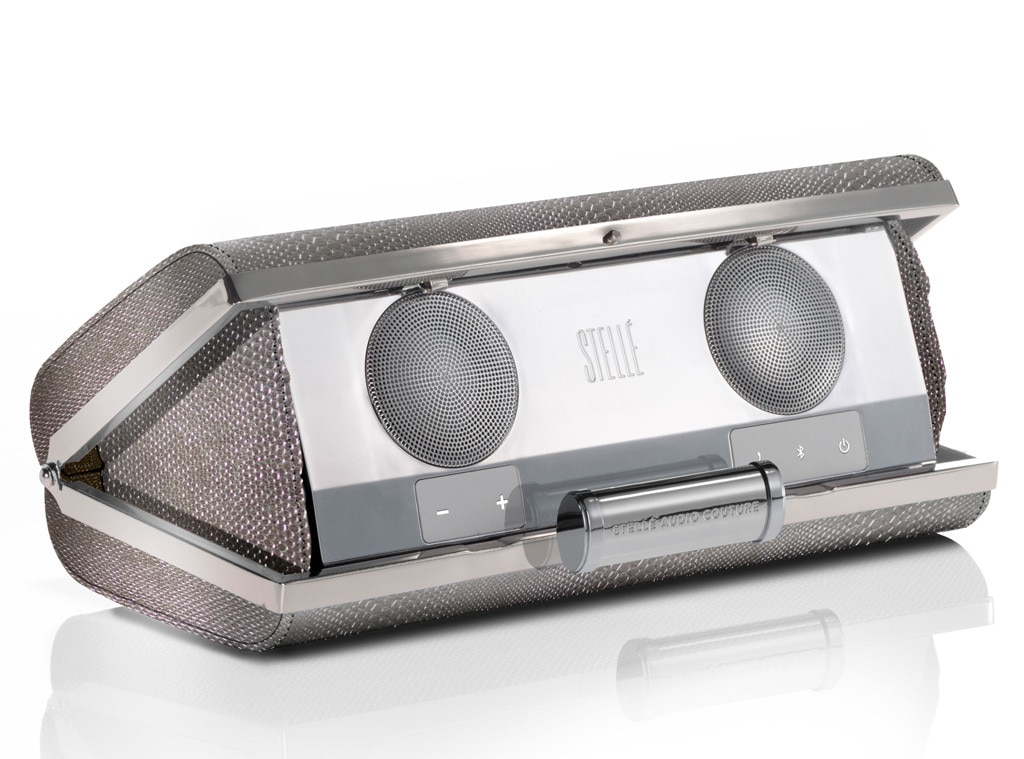 Chic Tech Gear, Stellé Audio Clutch in Silver Gunmetal