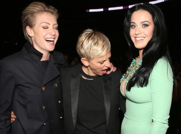Portia de Rossi, Ellen DeGeneres, Katy Perry, Grammys