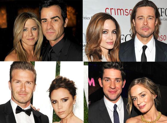 Jennifer Aniston, Justin Theroux, Angelina Jolie, Brad Pitt, Victoria Beckham, David Beckham, John Krasinski, Emily Blunt