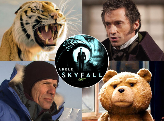 Best Song, Life of Pi, Les Miserable, Chasing Ice, Ted, Skyfall
