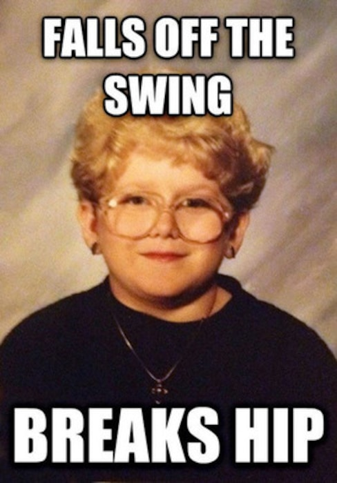 Young Girl School Pic, Old Lady, Meme