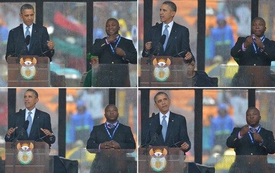Nelson Mandela Memorial, Sign Language, Barack Obama
