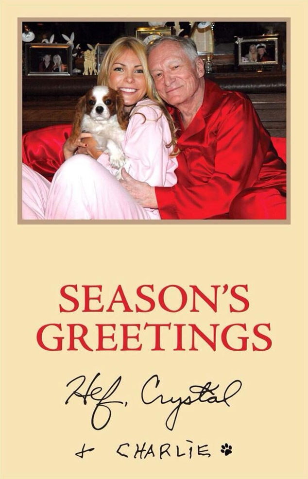 Hugh Hefner, Crystal Hefner, Charlie, Holiday Card, Twitter