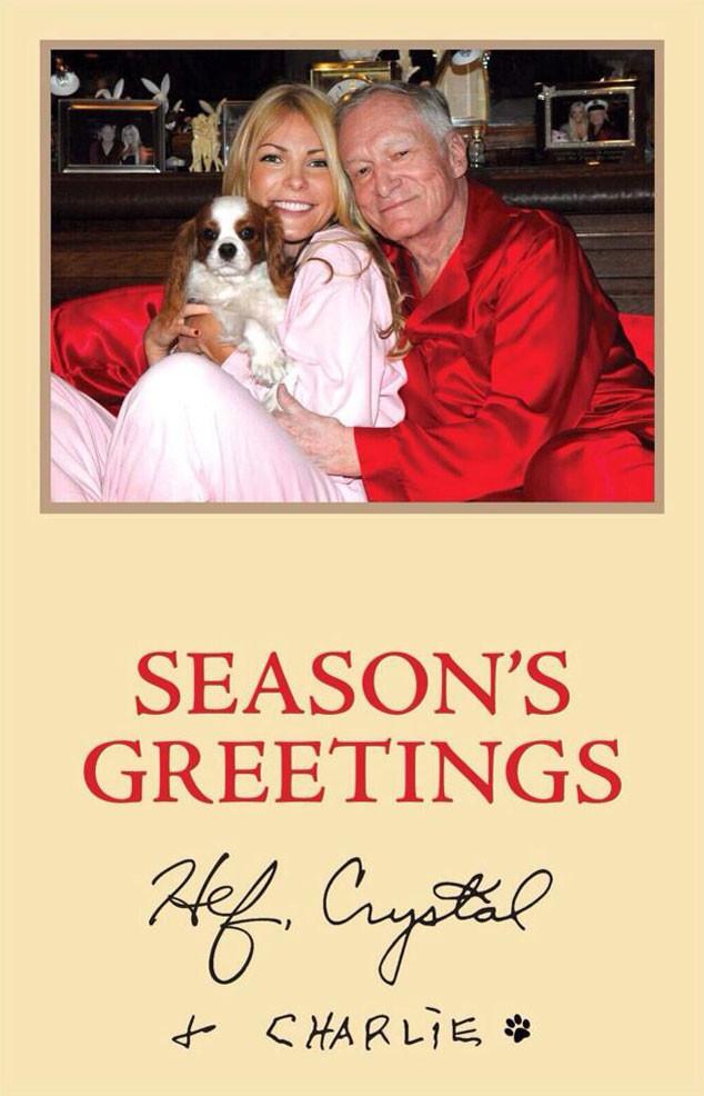 Hugh Hefner, Crystal Hefner, Charlie, Holiday Card, Twitter