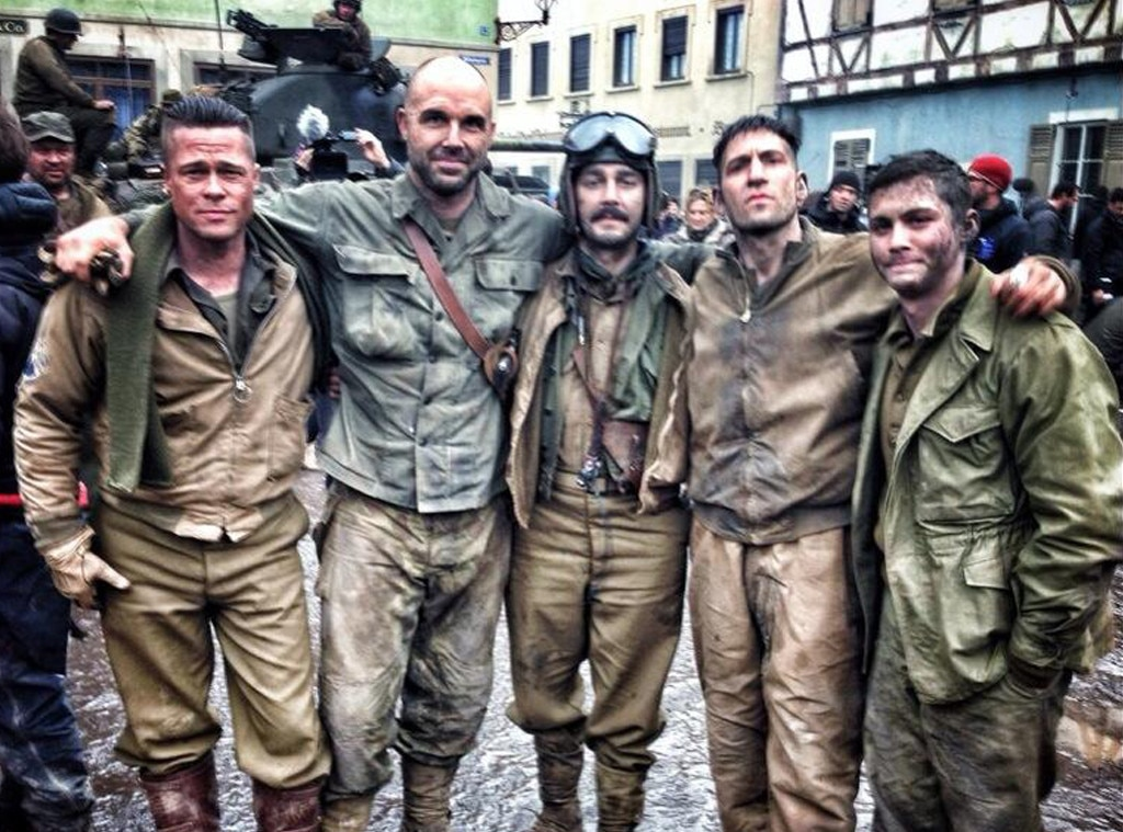 Images Of The Movie Fury: Brad Pitt & Shia LaBeouf Pose On The Fury Set—See The Pic