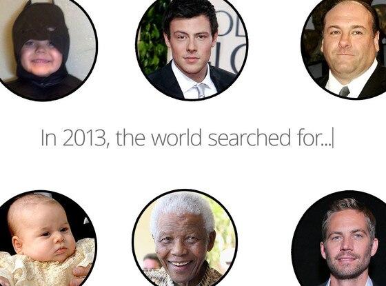 Google Search, Paul Walker, Prince George, Nelson Mandela, Batkid, Cory Monteith, James Gandolfini