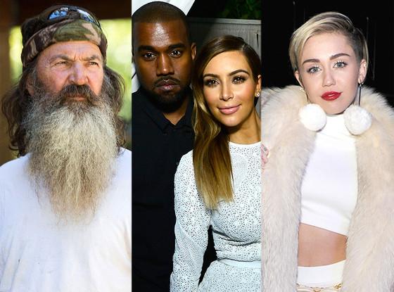 Miley Cyrus, Phil Robertson, Duck Dynasty, Kanye West, Kim Kardashian
