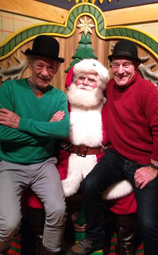 Sir Patrick Stewart, Ian McKellan, Twitter, Santa, Christmas