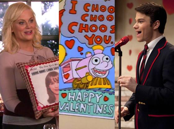 TV V-Day episodes Split, Glee, Simpsons, Parks and Recreation