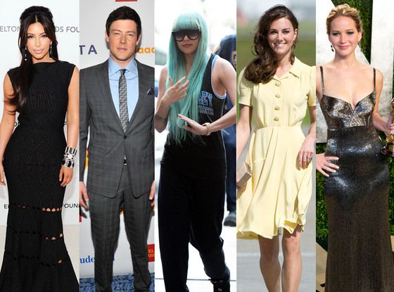 Kim Kardashian, Cory Monteith, Amanda Bynes, Kate Middleton, Catherine, Duchess of Cambrige, Jennifer Lawrence