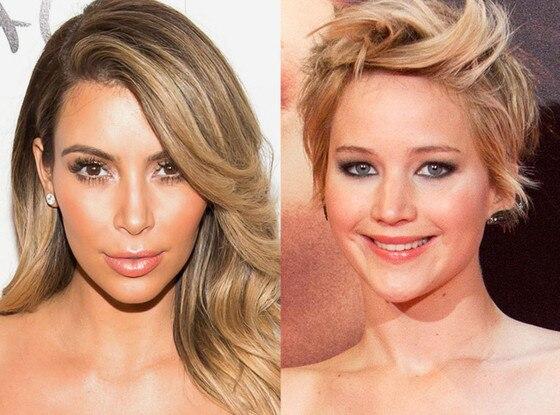 Kim Kardashian, Jennifer Lawrence, Hair