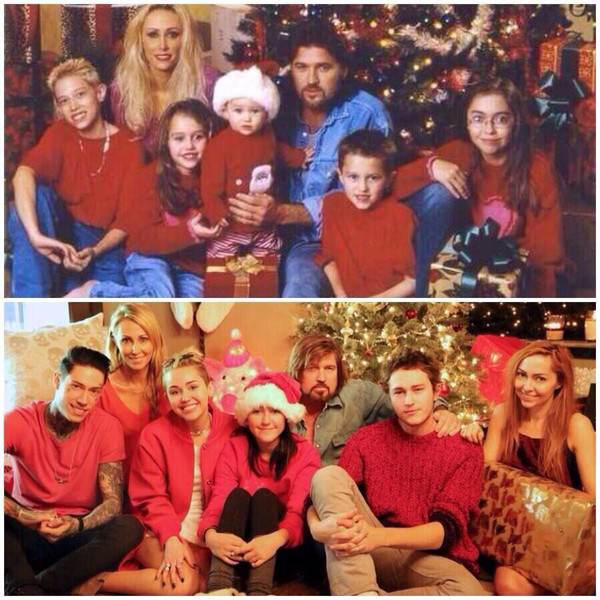 Miley Cyrus, Christmas Family Photo, Twitter