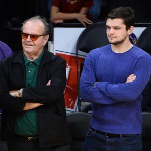 Jack nicholson watches lakers game alongside hunky look alike son